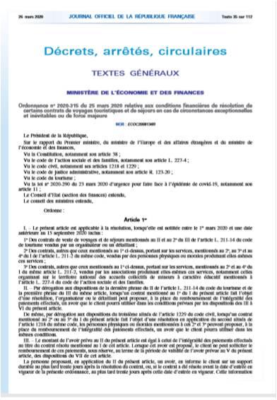 Ordonnance n°2020-315 du 25 mars 2020